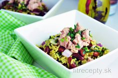 Ryža s fazuľou, špenátom a tuniakom No Cook Meals, Tofu, Potato Salad, Good Food, Potatoes, Fish, Vegan, Cooking, Ethnic Recipes