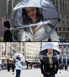 Nubrella  Nubrella protects you against rain, wind, sleet, snow and extreme cold. It is an umbrella for all inclement weather conditions not just rain. [link]