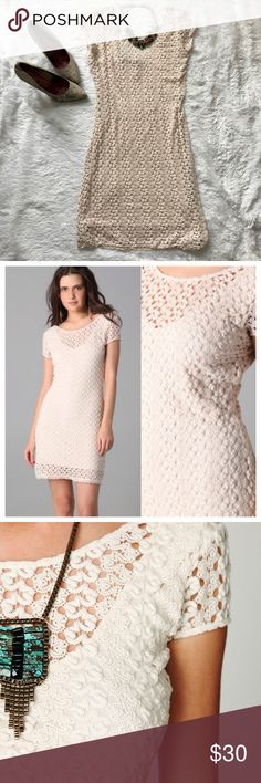 Free People crochet lace body con dress low back Brand: Free People Size: Medium Description: Cap sleeved body-conscious gipsy lace dress. Fully lined. Low back style. Perfect for a festival, a fun night out, or can even be dressed up for a special event. Condition: Excellent used condition EUC, no stains or tears. Free People Dresses Mini