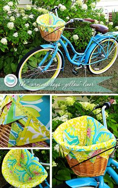Antique-style town bike, Paint it yellow, change fabric to fall color scheme, fill with ceremony flowers.