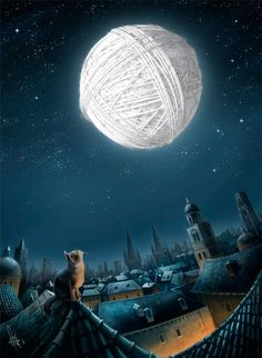 Kitten's dream - a yarn moon. Kitten's dream nothin-my dream! I Love Cats, Crazy Cats, I Miss My Cat, Moon Art, Belle Photo, Cat Art, Betta, Cats And Kittens, Ragdoll Kittens