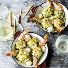 Gratinierte Zucchini-Garnelen-Röllchen