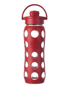 Earth-conscious glass water bottle. LifeFactory.com+-+22+oz+Glass+Bottle+with+Flip+Cap+and+Silicone+Sleeve+%28red%29