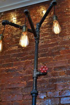 Down the Pipeline - Industrial Plumbing Pipe Floor Lamp. Lamp has 3 ...