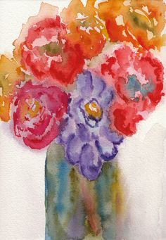 "Mark Higden: July Flowers, watercolor, 5""x7"""