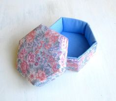 Box fabric blue pink floral hexagonal m by SewDanish on Etsy, $16.00