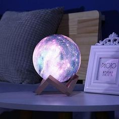 Galactic Moon Lamp Our Galactic Moon Lamp is Out of This World, Literally 😍Perfect for adding Cosmic Elegance to your desk, or your bedside. My Room, Girl Room, Girls Bedroom, Bedroom Lamps, Bedroom Decor, Cute Room Decor, Dream Rooms, Cool Stuff, Gifts