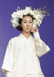 hanbok with floral crown