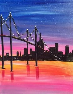 Join us for a Paint Nite event Sun Aug 2018 at 513 Third Avenue New York, NY. Purchase your tickets online to reserve a fun night out! New York Painting, City Painting, Acrylic Painting Canvas, Canvas Art, Cityscape Drawing, City Drawing, Skyline Painting, Bridge Painting, Silhouette Painting