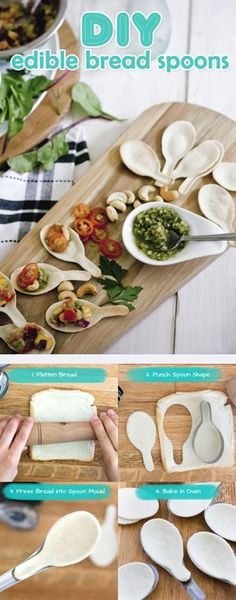 DIY Edible Bread Spons     NOTE Make with unleavened bread or will puff and not even look like a spoon!
