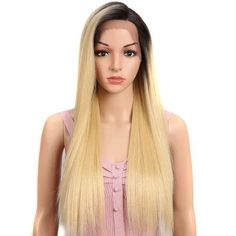 High quality lace front wig straight long brown wig with black root natural hairline - wigslily Blonde Lace Front Wigs, Blonde Wig, Short Hair Wigs, Long Wigs, Synthetic Lace Front Wigs, Synthetic Hair, Wig Styles, Curly Hair Styles, Wig Hairstyles