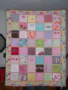 Cut little patches out of your little ones baby sleepers and clothes and sew into a quilt/blanket. Im doing this with both my girls!