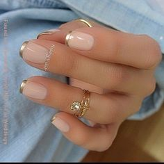 #golden Tips Clear French Nails #manicure #frenchtips #nails #summernails #frenchnails