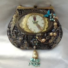 Steampunk Purse, Butterfly, Metallic copper, silver, gold, blue butterfly in antique brass frame with beads n crystals, LAYAWAY PLANS ....On my wish list.