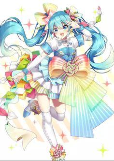 Hatsune Miku ini dress rainbow