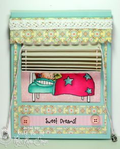 Sweet Dreams Miniblinds card by littlepigtails - Cards and Paper Crafts at Splitcoaststampers Fun Fold Cards, Cool Cards, Folded Cards, Unique Cards, Creative Cards, Origami Shapes, One Sheet Wonder, Weird Shapes, Interactive Cards