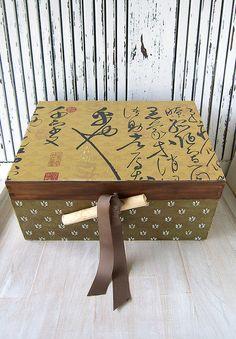 caja de madera grande teñida y con acabado en decoupage de CAMALEONGOGO en Etsy