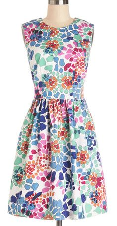 So many pretty Colors in this Fit-in-Flare Dress