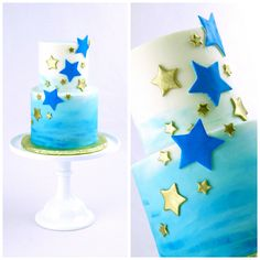 Blue and Gold Star Cake