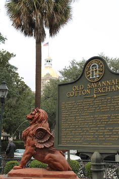 The Terra Cotta Lion - Savannah, GA  This is the corner we stand on for the St. Patrick's Day parade.