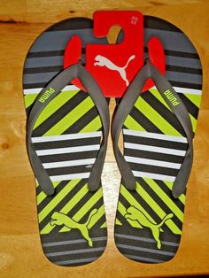c32f3ee8ab6 Men s PUMA Sport Flip Flops Sandals Gray and Yellow Size 12 NWT  PUMA   FlipFlops