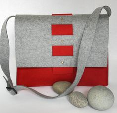 Messenger Bag in Red and Gray Wool Felt by fuzzylogicfelt on Etsy, $125.00