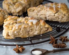 Pear Chai Spiced Scones with Glaze. Baked with an aromatic Indian chai spice and topped with a sweet pear drizzle, these spiced scones are bursting with flavor.