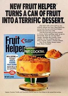 We're nostalgic for this tasty treat—easy to recreate today with one of Betty's delicious fruit crisp recipes. Retro Recipes, Vintage Recipes, Vintage Food, Vintage Ads, Retro Ads, Vintage Advertisements, Gross Food, Weird Food, 1970s Food