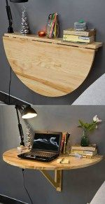 A bookshelf that becomes a study space.  Wood Wall-mounted Drop-leaf Table