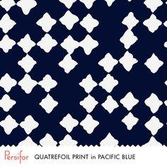 Persifor Quatrefoil Print in Pacific Blue. Bold Pantone colors. Everything navy. Unique prints.