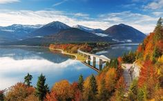 Download wallpapers Sylvenstein Lake, bridge, autumn, mountains, Bavaria, Germany