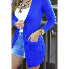 Cobalt Blue Cardigan Cobalt blue cardigan. Long/pasts waist. Chunky buttons and rolled sleeves. Sweaters Cardigans