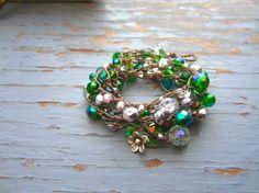 Emerald green crystal wrap 4 times wrap by Sydneyjos on Etsy