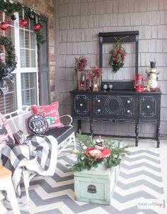 Schoolhouse Inspired Vintage Christmas Porch Decorations - I think our front porch is one of the most welcoming spaces in our home.It's definitely one of my f...