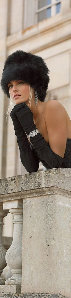 Ralph Lauren                                                #Black Fur Hat #Long Gloves #Diamonds