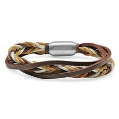 Brown Leather Braided Bracelet zulily like the cords- not keen on the leather strap Raw-finish leather and braided, earth-hued cords give this bracelet a rustic edge. The stainless steel clasp ensures quick on and off. Leather Jewelry, Metal Jewelry, Pendant Jewelry, Leather Cuffs, Jewelry Necklaces, Pendant Necklace, Geek Jewelry, Gothic Jewelry, Cowgirl Jewelry