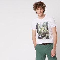 0e8f049d86 T-shirt imprimé en coton issu de l'agriculture biologique Blanc Monoprix  Homme -