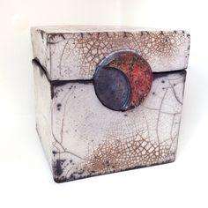 Raku ceramic box, transparent glaze, copper detail Jill E Rosenberg. SOLD!