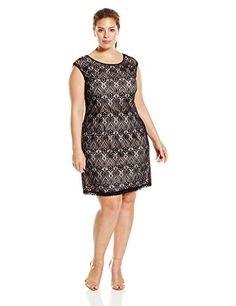 Connected Apparel Women's Plus-Size Allover Lace Sheath with Colored Underlay, Black/Pink, 14W