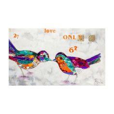 Quadro Pintura Birds Letters 120x200 Fullway