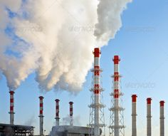 Smoking chimneys ...  air, atmosphere, backgrounds, blue, building, carbon, chemical, chemistry, chimney, clear, climate, cloud, damage, danger, dioxide, dirty, ecology, energy, environment, environmental, exhaust, factory, fumes, gas, global, greenhouse, high, industrial, industry, manufacturing, nature, outdoors, pipe, plant, pollution, power, red, refinery, sky, smog, smoke, smokestack, stack, steam, technology, tower, toxic, warming, waste, white