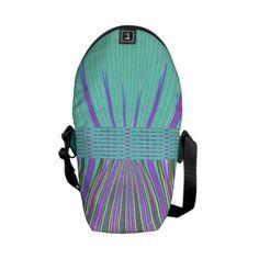 Aqua Purple Stripe Mini Messenger Bag