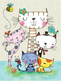 Discover thousands of images about Gatos Art Fantaisiste, Art Mignon, Cat Drawing, Drawing Ideas, Whimsical Art, Crazy Cats, Doodle Art, Cat Art, Cute Cats