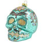 Sugar Skull Glass Ornament - Green