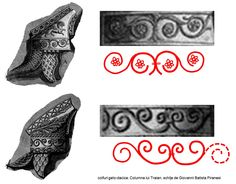 Coifurile geto-dacice reprezentate pe Columna lui Traian prezintă aceeaşi ornamentică bazată pe simbolismul de regenerare ciclică a naturii. First Humans, Old Things, Bronze, Artist, Rome Italy, Artists