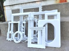 Large White ORNATE Picture Frame Set With Mirror by melissap6908