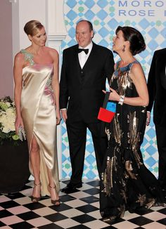 Charlene Wittstock Photos - (L-R) Charlene Wittstock,Prince Albert II of Monaco and Princess Caroline of Hanover arrive to attend the Monte Carlo Morocco Rose Ball 2010 held at the Sporting Monte Carlo on March 27, 2010 in Monaco, Monaco. - 2010 Monte Carlo Rose Ball