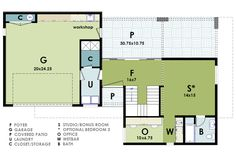 Modern House Plan D61-2073_Lower flr