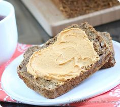 Healthy Banana Bread,  using mashed bananas, cinnamon, pure maple syrup, etc  with pumpkin cream cheese spread