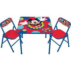 Add a colorful touch to a playroom or child's bedroom with the Disney Mickey Mouse Clubhouse Capers Kids' Activity Table Set. It includes a table with bright red and blue colors and Mickey's welcoming...
